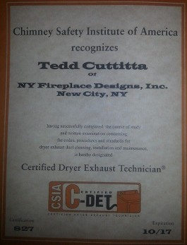 Chimney Safety Institute Certificate
